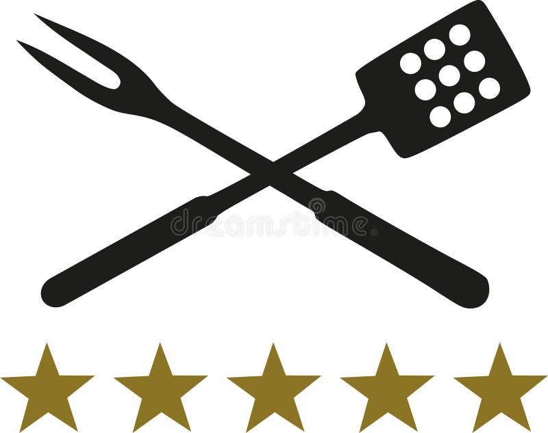 Krzyżujący BBQ rozwidlenie, szpachelka z pięć gwiazdami i royalty ilustracja