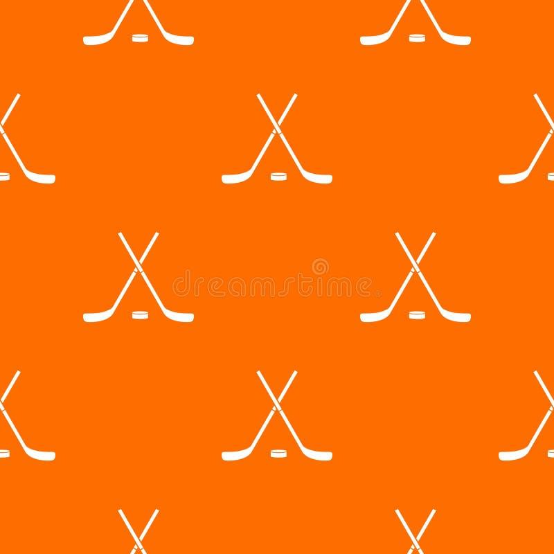 Krzyżujący hokejowi kije i krążka hokojowego deseniowy bezszwowy royalty ilustracja
