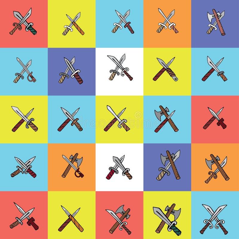 Krzyżujący kindżały, noże, ax, wektorowe ilustracje ustawiać ilustracji