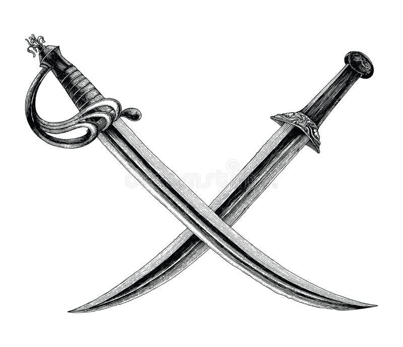 Krzyżujący kordziki, pirata symbol, logo ręki rocznika stylu rysunkowy iso ilustracji