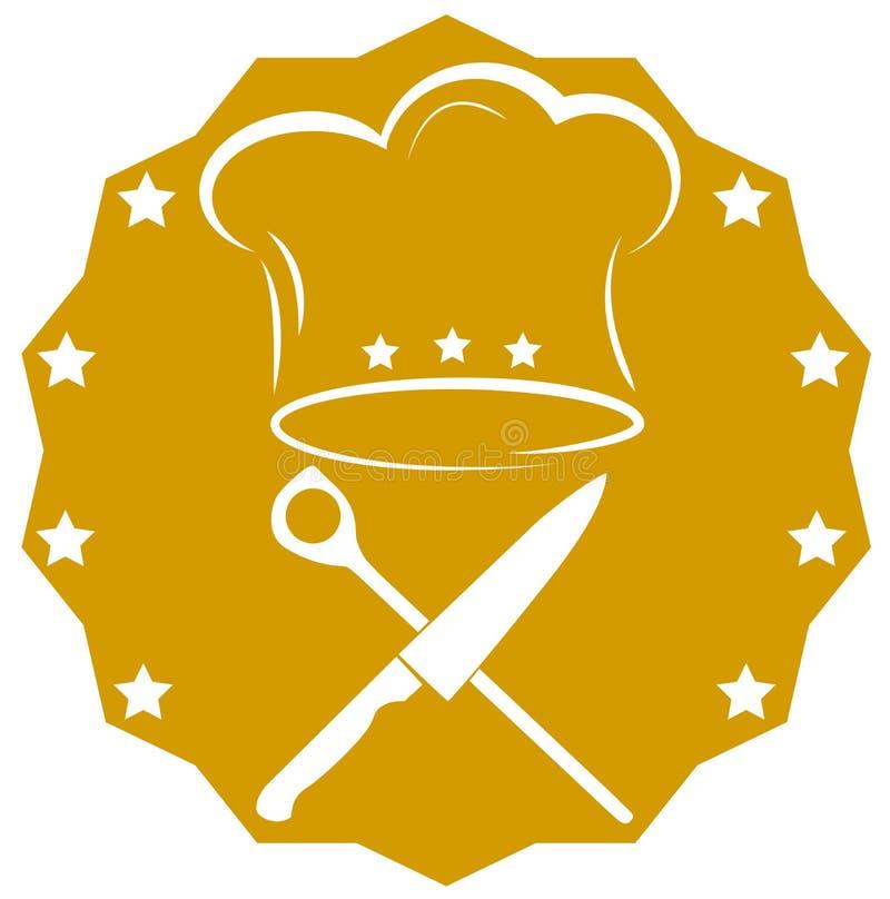 Krzyżujący kuchenny nóż, kulinarna łyżka i toque kulinarna ikona, royalty ilustracja