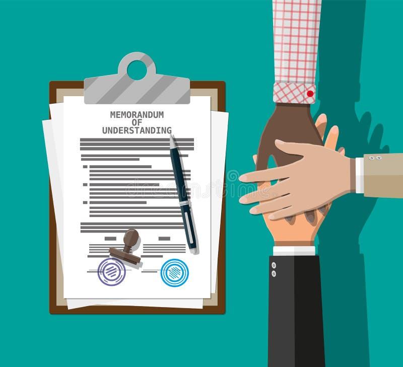 Krzyżujący memorandum porozumienia i ręki ilustracja wektor