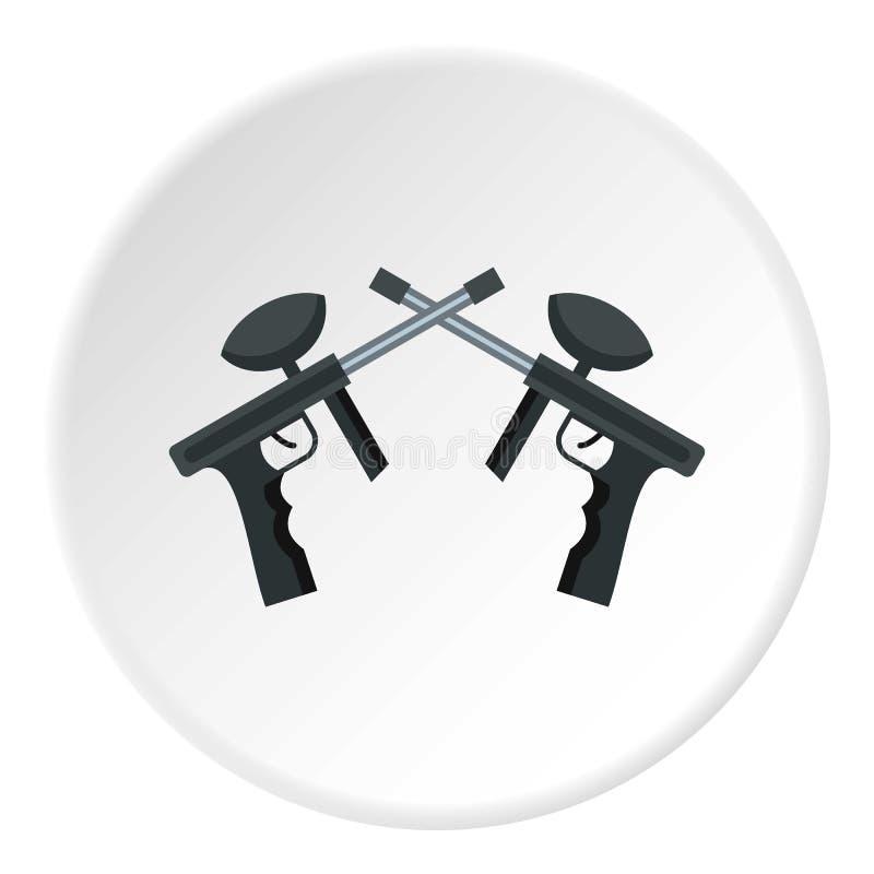 Krzyżujący paintball strzela ikona okrąg ilustracji
