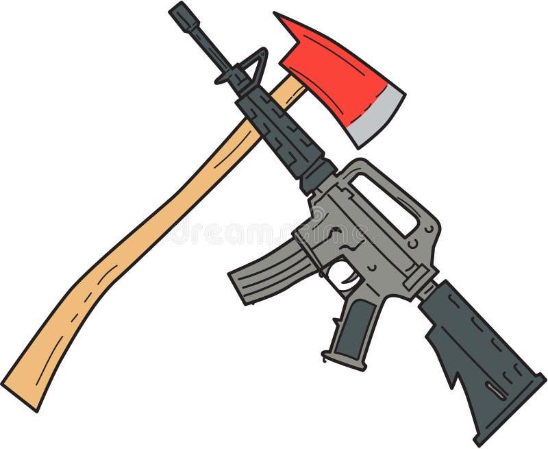 Krzyżujący Pożarniczy Ax i M4 karabinka karabinu rysunek ilustracja wektor