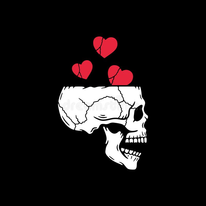 KRZYCZĄCA czaszka I serca royalty ilustracja