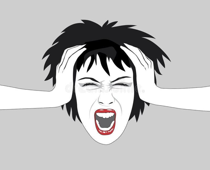 krzycząca kobieta royalty ilustracja