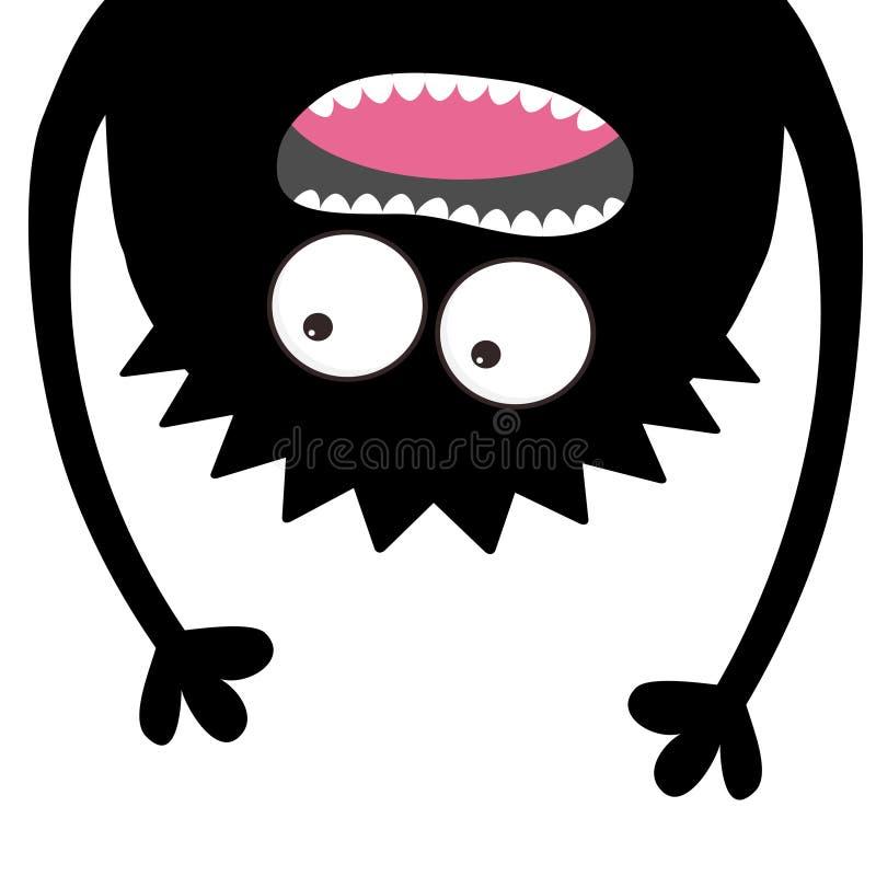 Krzycząca potwór głowy sylwetka Dwa oka, zęby, jęzor, ręki Wiszący do góry nogami Czarny Śmieszny Śliczny postać z kreskówki Dzie royalty ilustracja