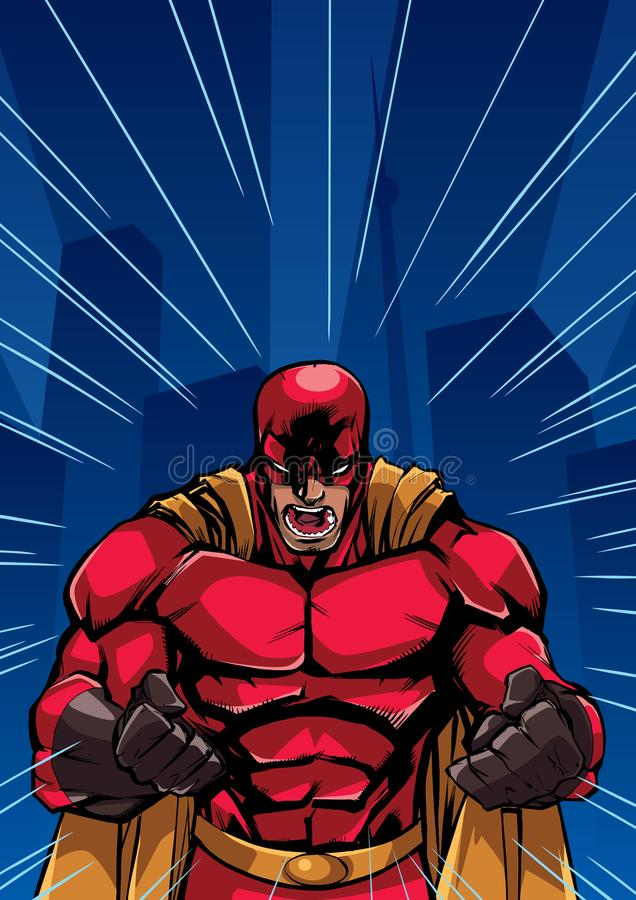 Krzyczący bohatera tło ilustracja wektor