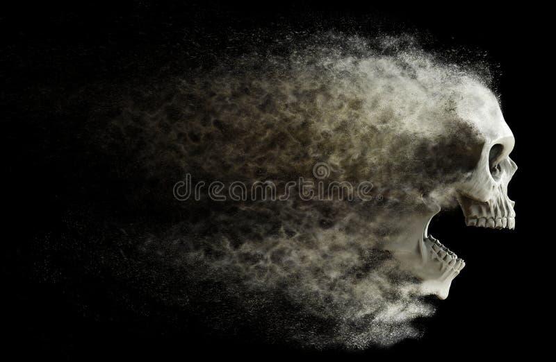 Krzyczący czaszka fading w pył ilustracji