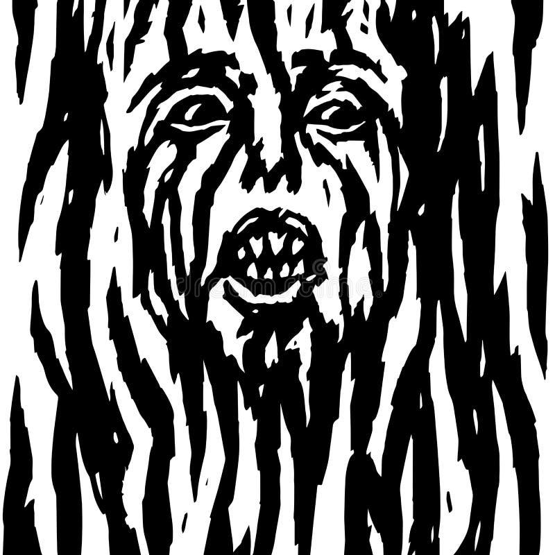 Krzyczący demon z krwawiącą kobiety ` s twarzą również zwrócić corel ilustracji wektora ilustracja wektor
