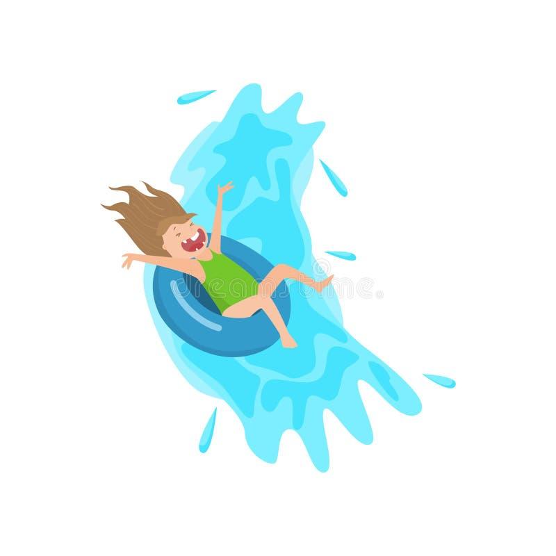 Krzyczący dziewczyny spływania puszek na nadmuchiwanym gumowym dopłynięcie pierścionku ilustracja wektor