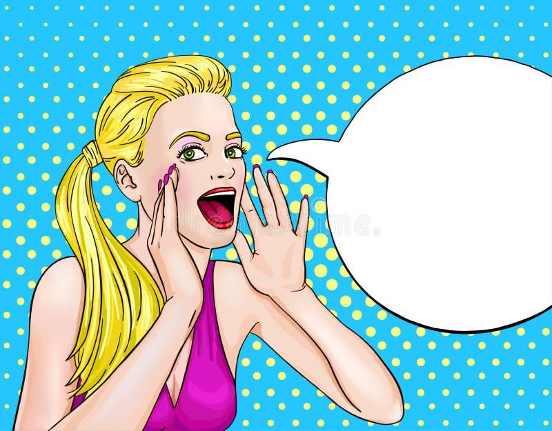Krzyczący kobieta wystrzału sztuki projekt royalty ilustracja