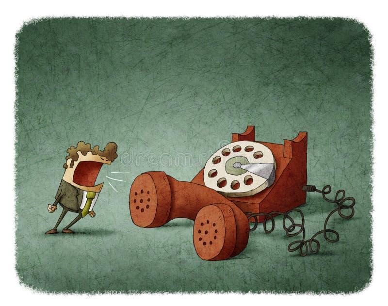 Krzyczeć przy telefonem ilustracja wektor