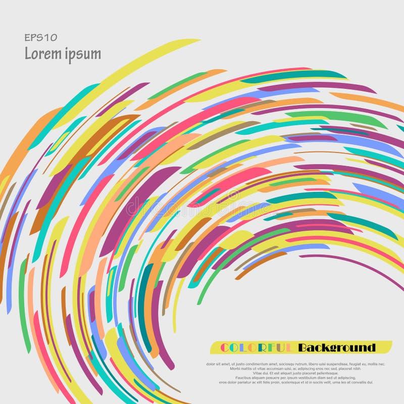 Krzywa kolorowy kredkowy abstrakcjonistyczny elementu tło Zniekształca dla twój prezentaci ilustracji