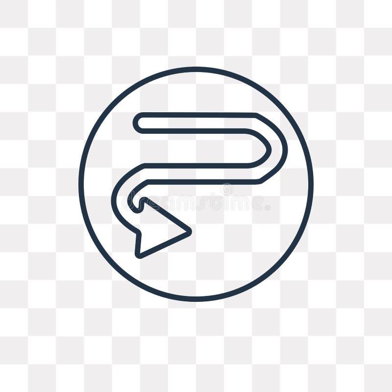 Krzywa wektoru ikona odizolowywająca na przejrzystym tle, liniowy Cu ilustracji