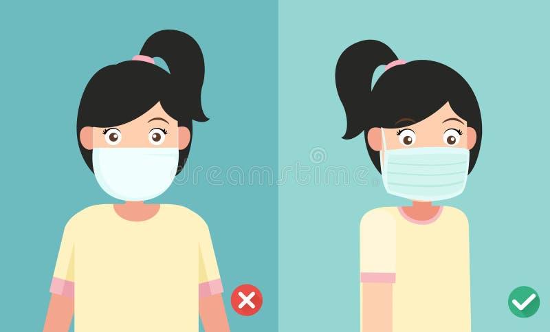 Krzywdzi być ubranym maskę zapobiegać infekcję i wyprostowywa ilustracja wektor