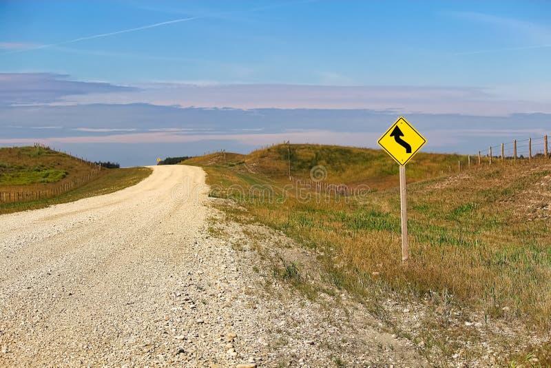 Krzywy naprzód znak ostrzegawczy obok wiejskiej drogi obrazy stock