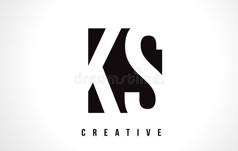KS de Witte Brief Logo Design van K S met Zwart Vierkant vector illustratie