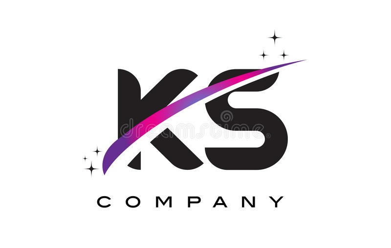 KS K S Black Letter Logo Design with Purple Magenta Swoosh. And Stars vector illustration