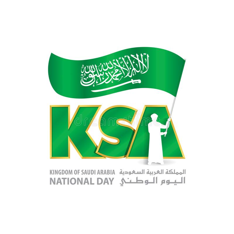 Download Ksa National Day Logo With Young Saudi Hold Flag Stock Vector Illustration Of Illustration