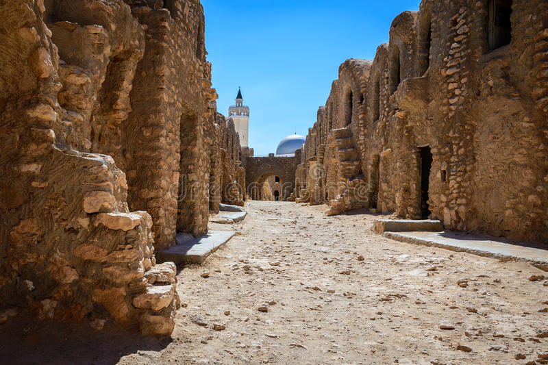 Ksar episodes Star Wars. A beautiful view of the barn where it was filmed the famous movie Star Wars located in Tunisia stock photography