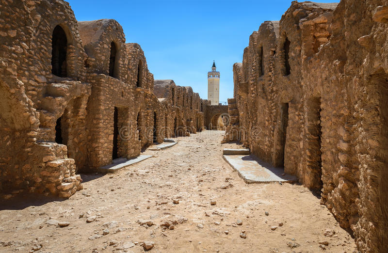Ksar episodes Star Wars. A beautiful view of the barn where it was filmed the famous movie Star Wars located in Tunisia stock photos