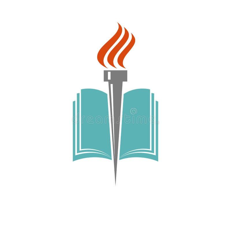Książka, pochodnia, edukacja i biblioteka logo, uniwersytecka ikona ilustracja wektor