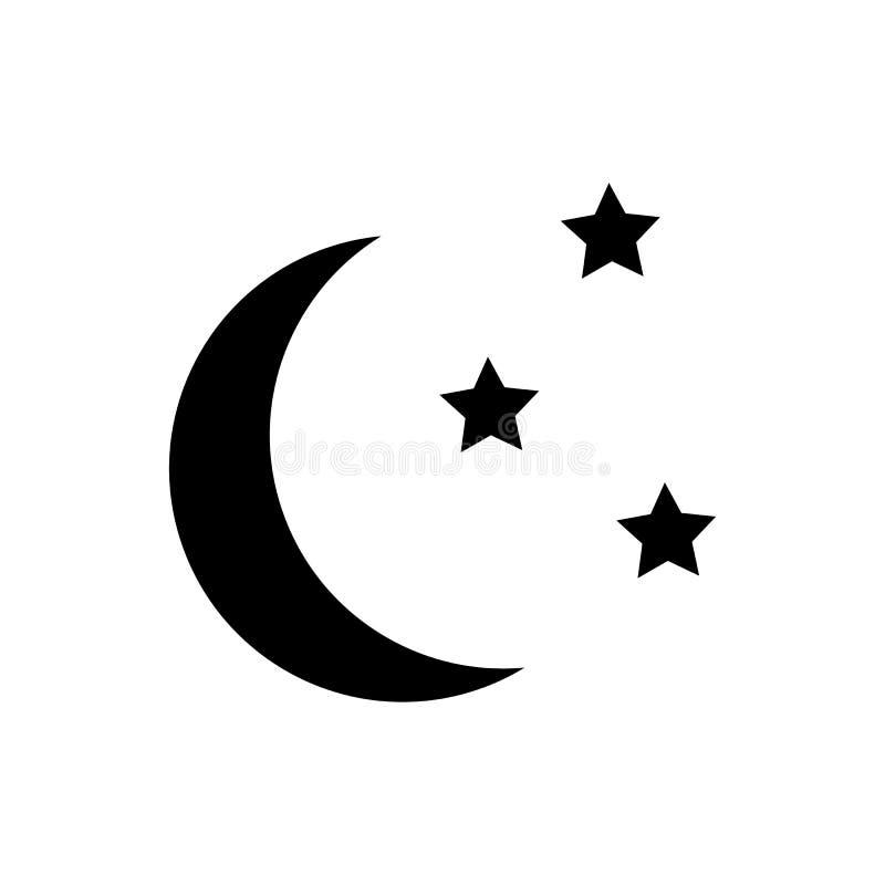 Księżyc i gwiazd ikona ilustracji