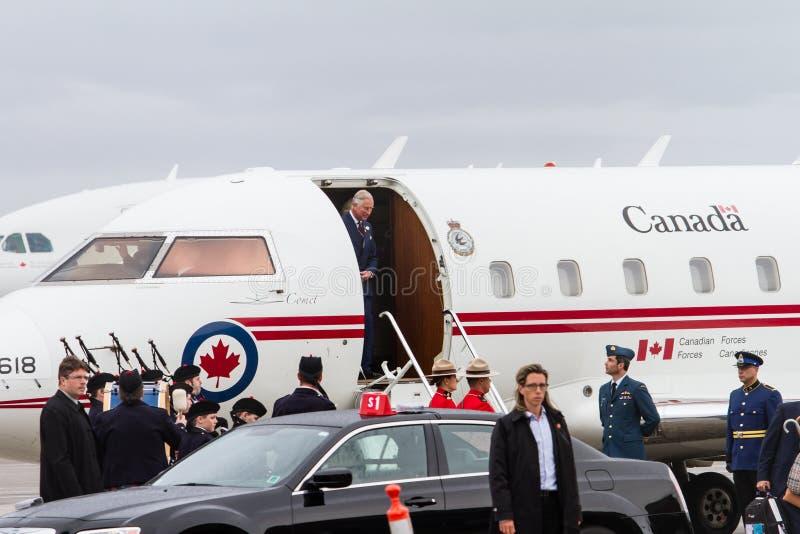 Książe Charles przyjeżdża w Kanada zdjęcie royalty free