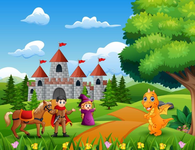 Książe, czarownica i smok na drodze prowadzi kasztel, ilustracja wektor
