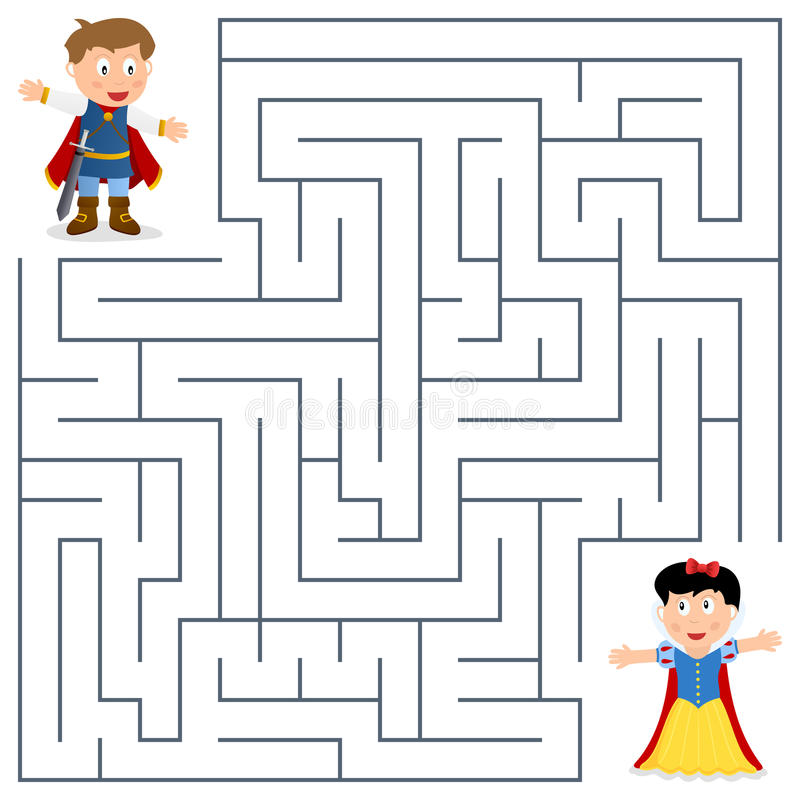 Książe Labirynt dla dzieciaków & Princess ilustracja wektor