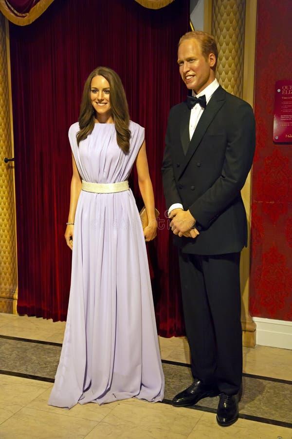 Książe Williams Middleton w Madame Tussauds Nowy Jork i Kate obrazy stock