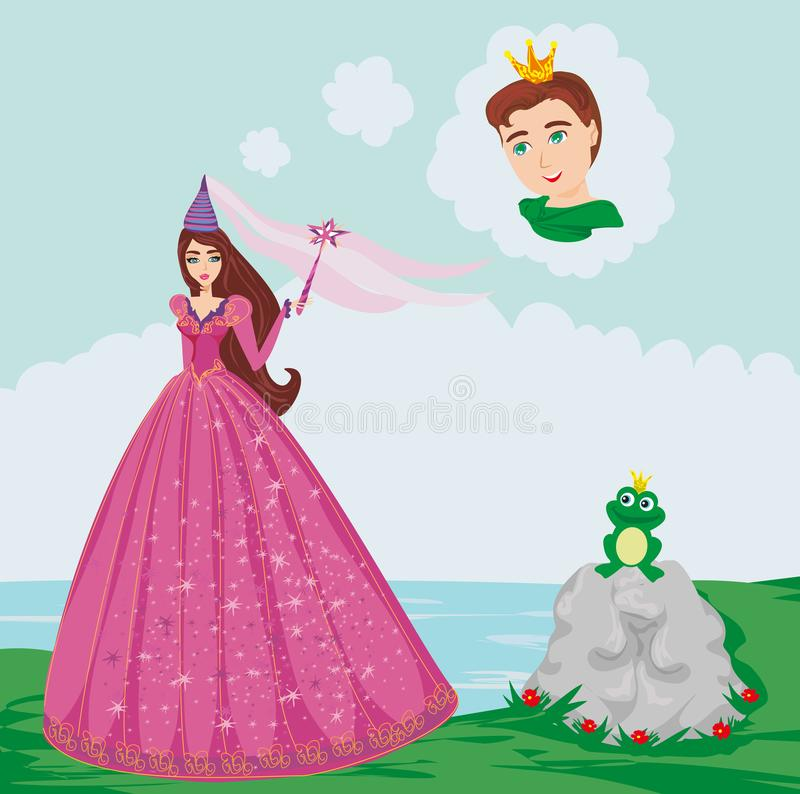 Książe zaczarowany z żabą royalty ilustracja