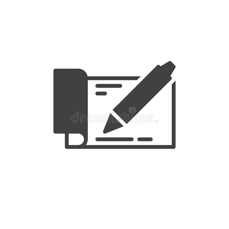 Książeczka czekowa z pióro ikony wektorem, wypełniający mieszkanie znak, stały piktogram odizolowywający na bielu Symbol, logo il ilustracja wektor