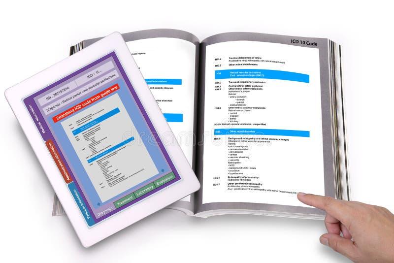 Książeczki zdrowiej technologia dla ICD kodu szuka szybko i prostego zdjęcie royalty free
