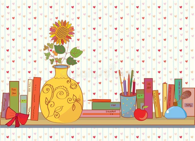 książek domu przedmiota półka ilustracja wektor