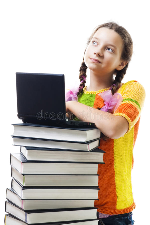 książek dziewczyny laptopu uśmiechu nastolatek fotografia stock