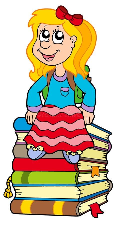 książek dziewczyny stosu obsiadanie ilustracja wektor