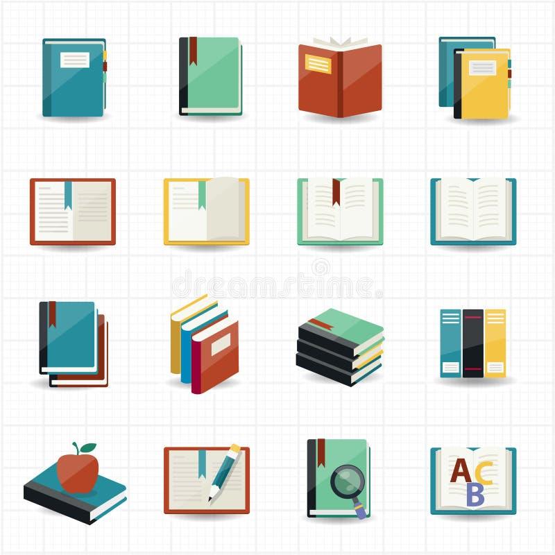 Książek ikony i biblioteczne ikony ilustracja wektor