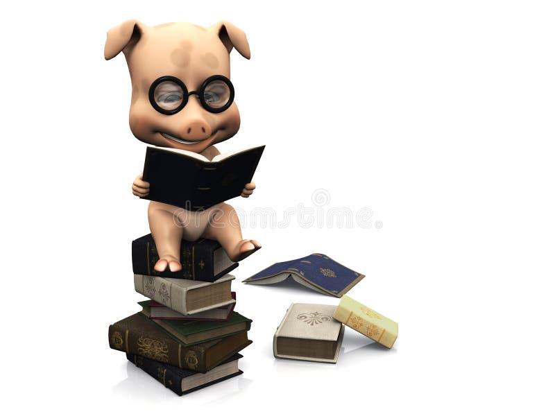 książek kreskówki śliczny świni stosu obsiadanie ilustracji
