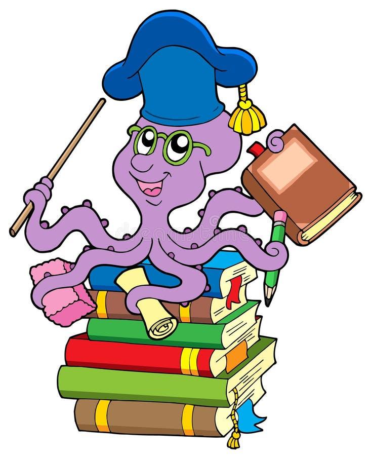 książek ośmiornicy stosu nauczyciel royalty ilustracja