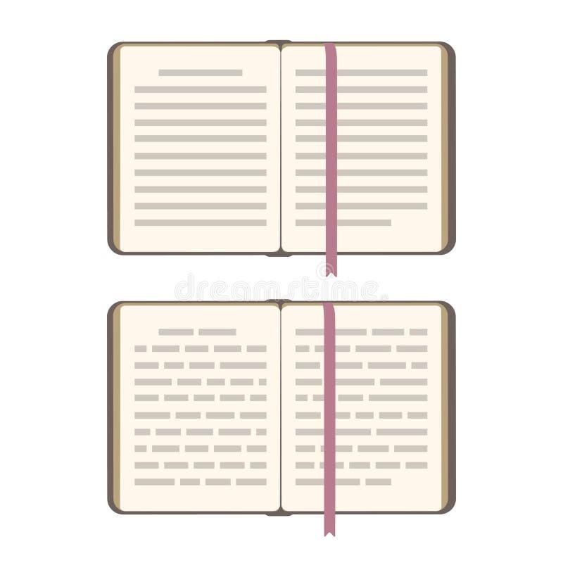 Książek otwarte strony z bookmark Wektorową płaską ilustracją odizolowywającą na bielu Odgórny widok, abstrakcjonistyczna tekst l ilustracja wektor