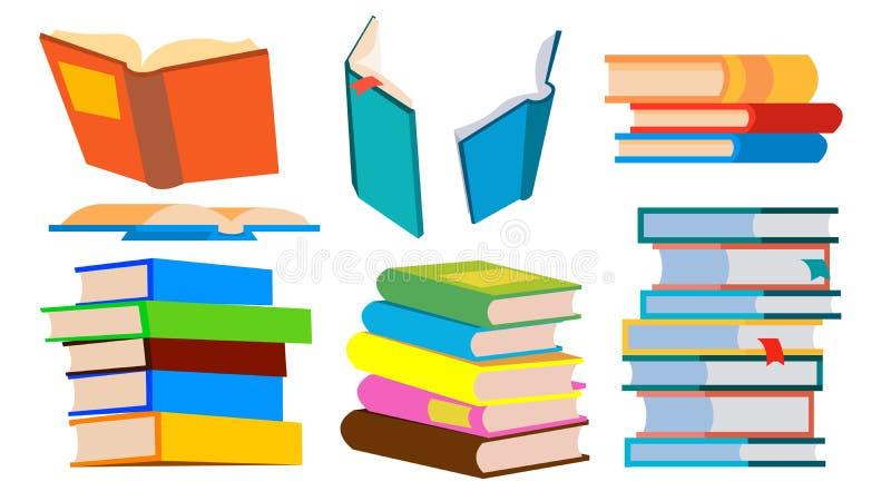 książek sterty wektor stos Różni kąty, wzrost Uczenie, Czytelniczy pojęcie Odosobniona kreskówki ilustracja royalty ilustracja
