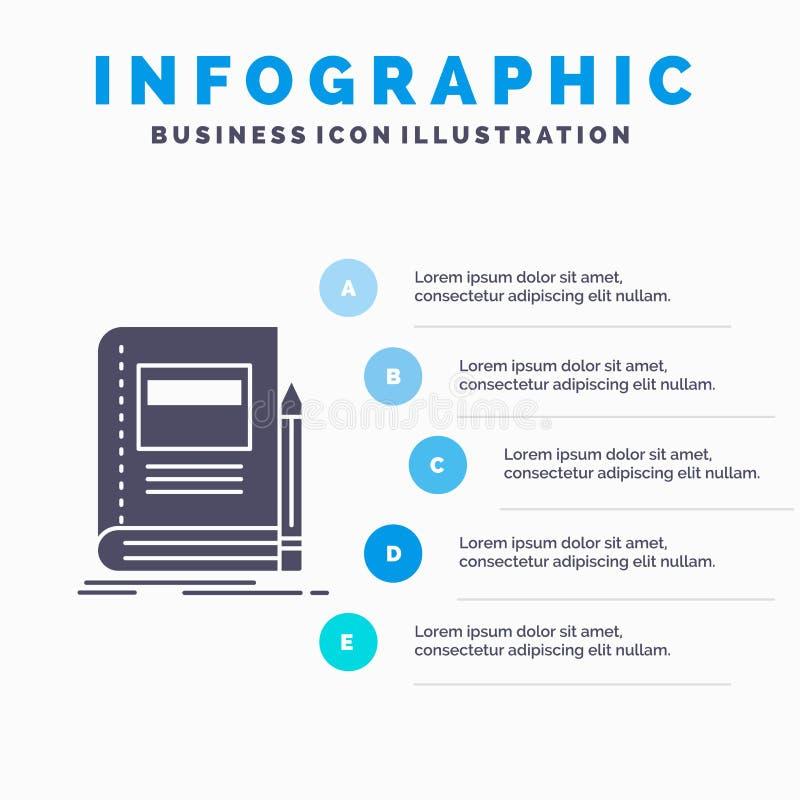 Książka, biznes, edukacja, notatnik, szkolny Infographics szablon dla strony internetowej i prezentacja, glif Szara ikona z b??ki ilustracja wektor