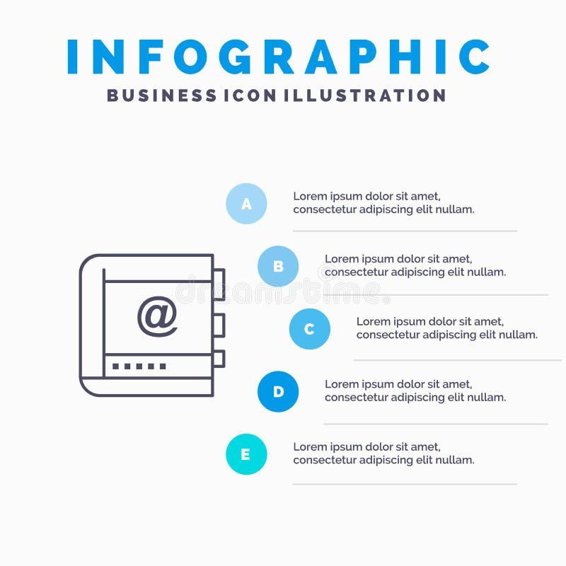 Książka, biznes, kontakt, kontakty, internet, telefon, linii telefonicznej ikona z 5 kroków prezentacji infographics tłem ilustracja wektor