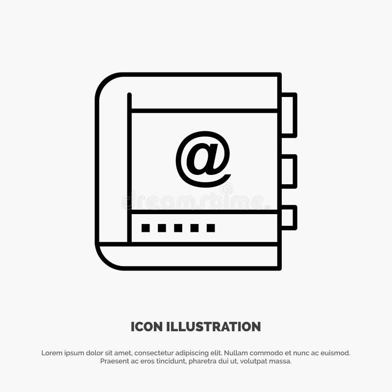 Książka, biznes, kontakt, kontakty, internet, telefon, linii telefonicznej ikony wektor royalty ilustracja