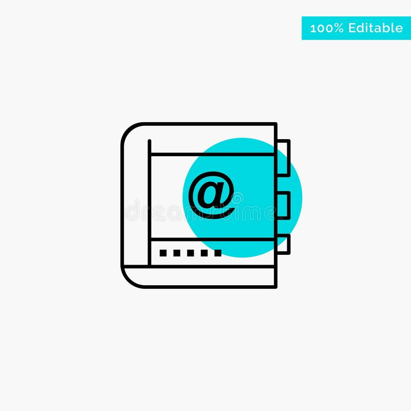 Książka, biznes, kontakt, kontakty, internet, telefon, Telefoniczna turkusowa główna atrakcja okręgu punktu wektoru ikona royalty ilustracja
