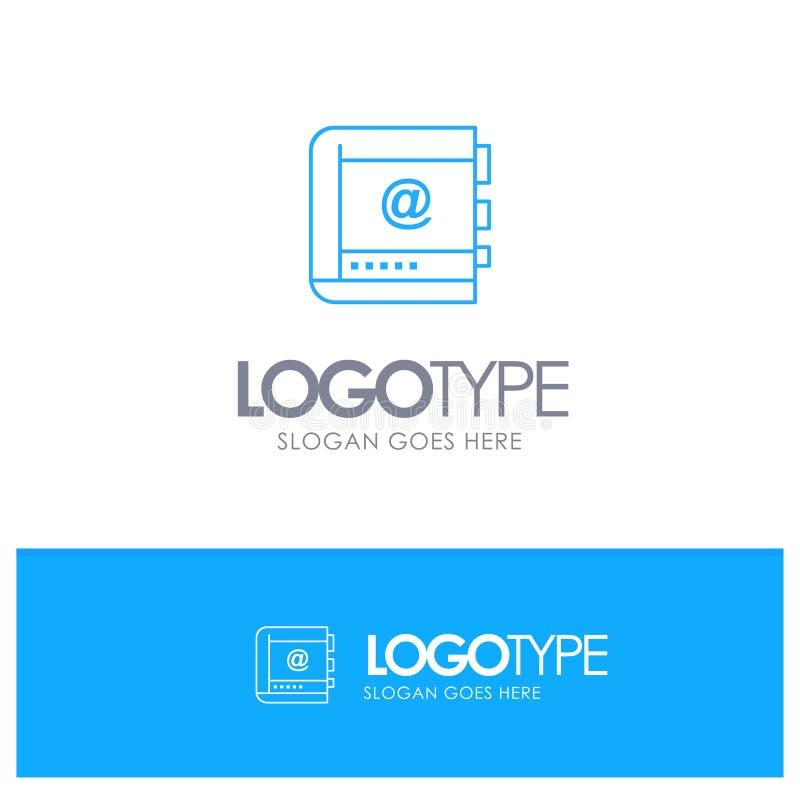 Książka, biznes, kontakt, kontakty, internet, telefon, Telefoniczny Błękitny konturu logo z miejscem dla tagline royalty ilustracja