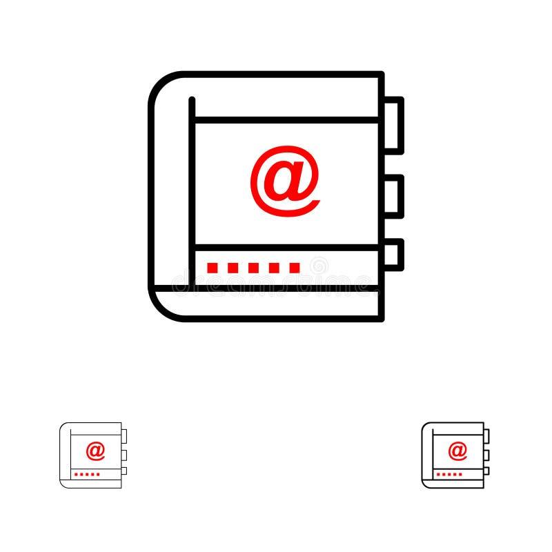 Książka, biznes, kontakt, kontakty, internet, telefon, Telefoniczny czerni linii ikony set, Śmiały i cienki ilustracja wektor