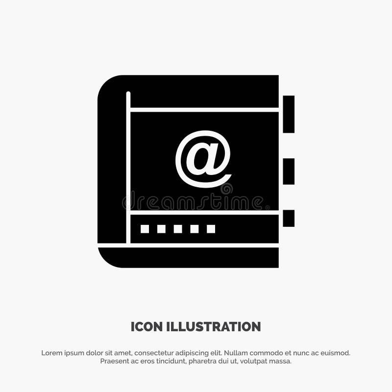 Książka, biznes, kontakt, kontakty, internet, telefon, Telefoniczny stały glif ikony wektor ilustracja wektor